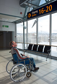 Disabled man in airport